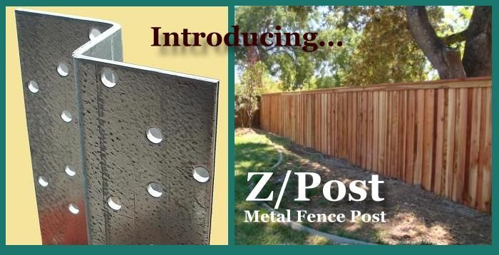 Wood fencing with metal fence post (2)