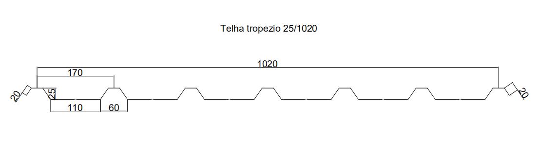 perfil telha trapezio 25-1020