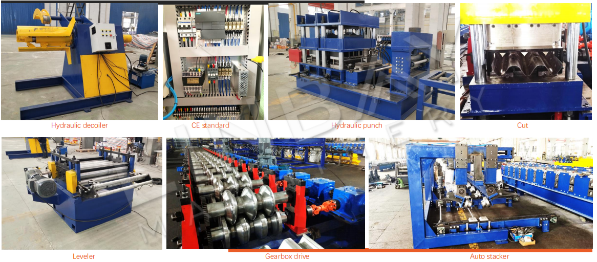 whole production line of highway guardrail roll forming machine