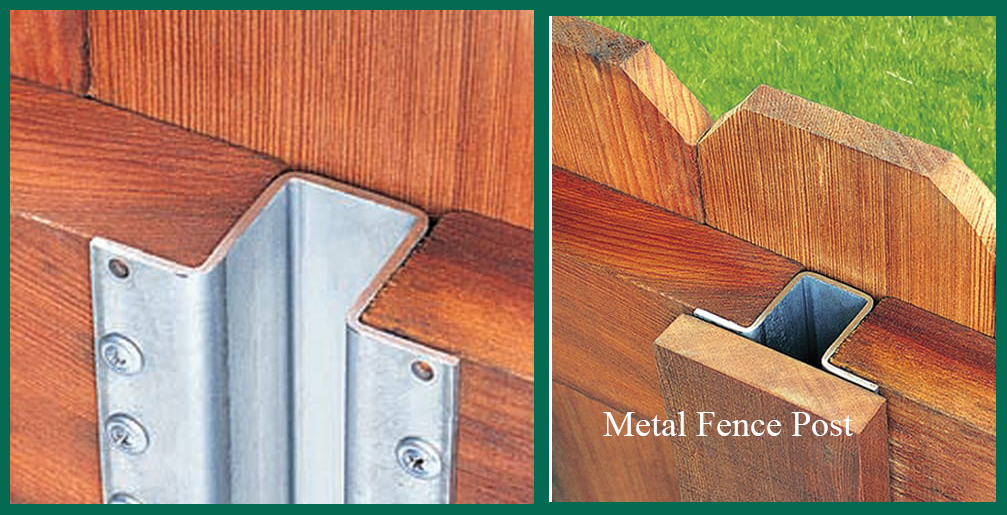 wood fencing with metal fence post